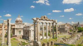 Blue cloudy sky above ruins of Roman Forum museum in Italy, famous landmark. Stock footage stock footage