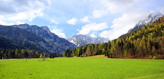 Blue and cloudy sky above Slovenian Alps Stock Photo