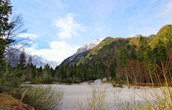 Blue and cloudy sky above Slovenian Alps Stock Photography