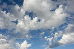 Blue cloudy sky. Beautiful cloudy skies after rain storm Royalty Free Stock Photo