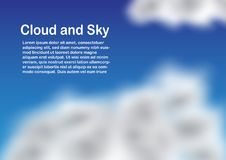 Blue cloudy sky with copy space for text. Digital art design Stock Photography