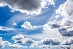 Blue Cloudy Sky. With Different Sized and Shaped Clouds Royalty Free Stock Photos