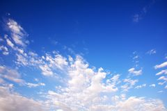 Blue cloudy sky, high resolution picture Stock Image