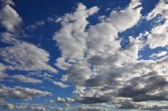 A blue cloudy sky with many small clouds blocking the su. N Royalty Free Stock Photos