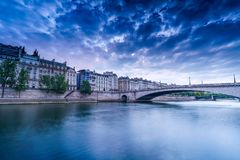 Buidings at The Seine River Bank. Blue cloudy sky morning of the old buildings at Seine river Bank Royalty Free Stock Photos