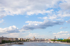 Blue cloudy sky over Moscow city and Moskva River Stock Photography