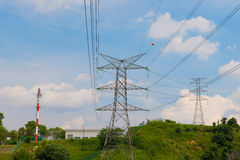 Blue Cloudy Sky and power tariff Royalty Free Stock Photos