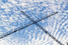 Blue cloudy sky with scaffold. In summer time royalty free stock images