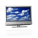 Blue cloudy sky on tv screen Royalty Free Stock Images