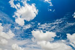 Blue cloudy sky, ultrahigh resolution picture Royalty Free Stock Image