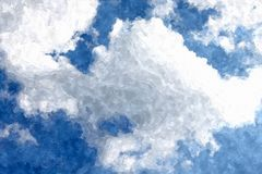 Blue cloudy sky watercolor grunge background stock images