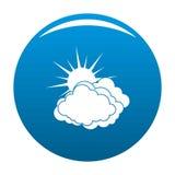 Blue cloudy sun icon blue vector. Blue cloudy sun icon vector blue circle isolated on white background Stock Photos
