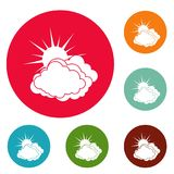 Blue cloudy sun icons circle set vector. Isolated on white background Royalty Free Stock Photo