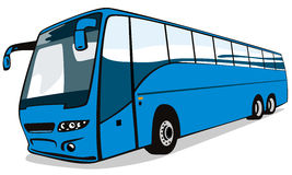 Blue coach bus Royalty Free Stock Images
