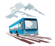 Blue coach travelling in the m. Vector art on travel and tourism stock illustration