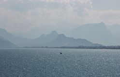 Blue coastline in Antalya, Kaleici, Turkey stock image