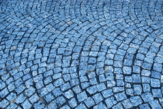 Blue cobblestone way Stock Photo