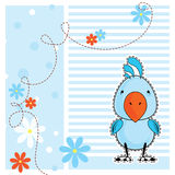 Blue cockatoo parrot, greeting card, vector. Illustration royalty free illustration