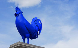 Blue Cockerel in Trafalgar Square, London, UK. The blue cockerel is mounted on the spare plinth in Trafalgar Square, London. The fibreglass artwork known as Hahn stock image