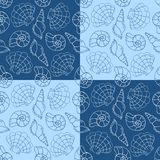 Blue cockleshells seamless pattern Stock Photography