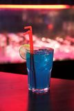 Blue Cocktail. A glass with alcohol cocktail, blue stock photography