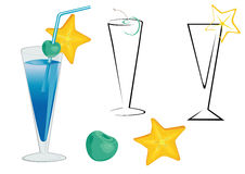 Blue cocktail. Drink glasses with cherry,star-fruit and straw Stock Photo