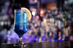 Blue cocktail on the bar.  Royalty Free Stock Photography