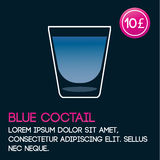 Blue cocktail card template with price and flat background. royalty free illustration