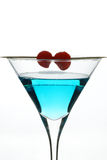 Blue Cocktail with Cherries Royalty Free Stock Image