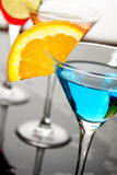 Blue cocktail drink. With slice of orange Stock Photography