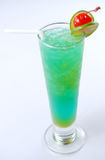 Blue cocktail drink with lemon slices Stock Photography