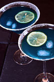 Blue cocktail drinks. A pair of blue cocktails Stock Images