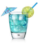 Blue cocktail in a glass. On a white background stock images