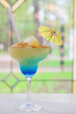 Blue cocktail in a glass Royalty Free Stock Image