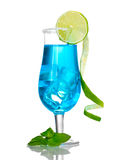 Blue cocktail in glasses with ice and sugar Royalty Free Stock Photography