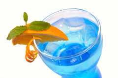 Blue cocktail with ice Royalty Free Stock Image