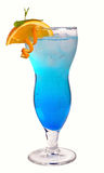 Blue cocktail with ice and orange Royalty Free Stock Photography