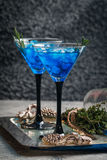 Blue cocktail with ice Royalty Free Stock Photography