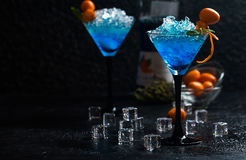 Free Blue Cocktail In Martini Glasses Stock Images - 93415874
