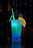 Blue cocktail with a lemon Stock Photography