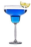 Blue cocktail in margarita glass isolated on white background Stock Photo