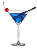 Blue cocktail in martini glass isolated on white background Royalty Free Stock Image