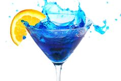 Blue cocktail with orange Royalty Free Stock Images