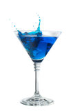 Blue cocktail with splash isolated on white Stock Images