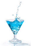 Blue cocktail with splash Stock Image
