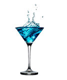 Blue cocktail with splashes isolated on white Royalty Free Stock Image
