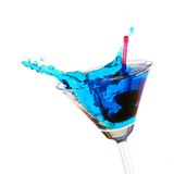 Blue Cocktail Splashing Stock Image