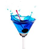 Blue cocktail splashing Royalty Free Stock Images