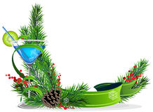 Blue cocktail, spruce branches and ribbon Stock Photos