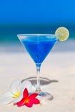 Blue cocktail at tropical beach Stock Photos
